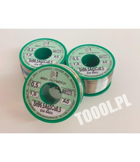 Lutowie w drucie Sn96,5Ag3,Cu0,5 topnik A0 fi 1,0 mm szpula 0,5 kg
